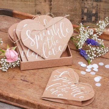 'Sprinkle The Love' Heart Shaped Confetti Cones